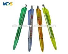 Best promotional ball pens, plastic pull out paper ball point pen, slogan on calendar ballpoint pen