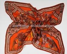 New Arrive 90*90cm Custom Made Square Digital Print ladies glitter scarves