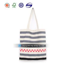 Top sale cross stripe blank canvas cotton beach tote bag wholesale