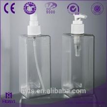 300ml square shape clear pvc plastic empty bottle with pump