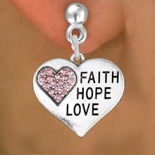 Lead, Cadmium, & Nickle Free Fuchsia Rhinestone FAITH&HOPE&LOVE Heart Charm Earring