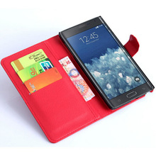 Red Hot Selling Folding Stand Wallet Leather Case for Samsung Galaxy Note Edge