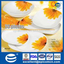 porcelana redonda ou quadrada pratos tigela conjunto com padrão