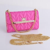 Lady Purse for iPhone 6 Wallet Case Diamond Button with Long Chain Handbag
