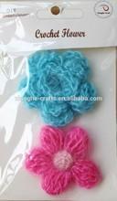 Pink & Blue Antique Fabric Flower Assortment Crochet Embellishment