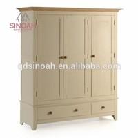 Wood bedroom furniture set solid pien 3 door wardrobe with 1 drawer (MG46)