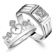 Fashion Jewelry S925 Silver Wedding Diamond Couple Ring