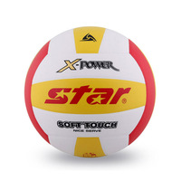 Star,VB555-34,PU,size5,indoor/outdoor,made by machine,red-white-yellow,volleyball