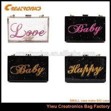 Ladies Acrylic Perspex Clutch Purse Transparent Handbag Shoulder Evening Bag