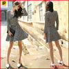 Fashion vintage all-over bird pirnt knitted suits laies winter dress