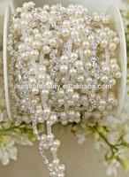 white pearl rhinestone petal flower applique chain WB61
