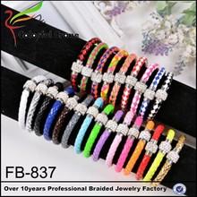 Alibaba website 2015 colorful leather alloy jewelry,rhinestone leather bracelet