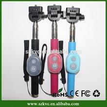 selfie stick monopod Z07-1, bluetooth remote shutter with sillicone rubber case for monopod