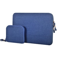 11.6 inch Denim Fashion Zipper Linen Waterproof Sleeve Case Bag for Laptop Notebook, with A Small Bag for Mouse