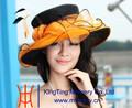 directamente de la fábrica de organza hermosa sombreros de laiglesia para niñas con elegante pluma