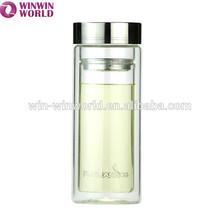 Wholesale 350ml Food Grade Borosilicate Glass Double Wall Water Bottle