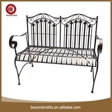 Wrought iron garden bench, garden bench, metal garden bench