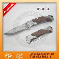 classic foldable pocket wood handle damascus knife