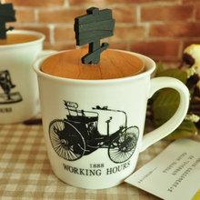 ZAKKA creative ceramic mug with wooden lid handle wholesale fashion gift mugs Milk Cup