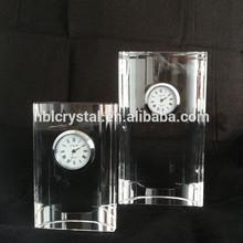 2014 Hot sale optical k9 crystal desk clock for events' gift