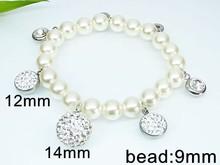 XB21249 shamballa beaded 2014 jewelry pearl bracelet