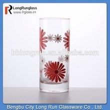 LongRun 9oz beautiful flower decal glassware fancy water milk highball glass cup glass factory