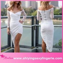New Wholesale White Lace Asymmetrical Wrap dress maxi