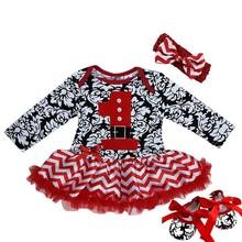 Baby Xmas Damask Chevron Santa Number 1 Bodysuit Tutu Party Dress Romper 0-18M