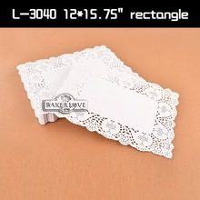 Retangular rendas pratos de papel / papel com padrão de renda / white paper doily / doilies de papel a granel # L-3040