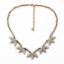 Newest Designs Fashion Tree Leaf Imitation Pearl, Crystal Mosaic Pendant and Gold Alloy Chain pearl Necklace