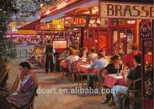 Pub scenery canvas oil painting decorative pictures cheap
