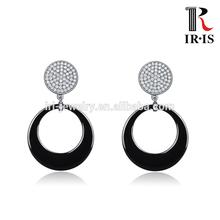 CME0013-J01 high tech black ceramic 925 silver basic jewelry drop studded earring