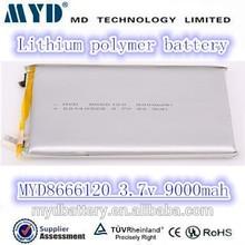 MD High capacity Li-polymer battery 3.7V 9000mAh 8666120