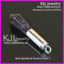 KJL-A0467 Natural purple amethyst agate healing point quarrz stone pendant,bullet shape drusy gem stone pendant fit necklace