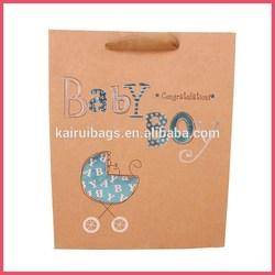 hot sell 4C printing ribbon handle kraft paper large gift bags