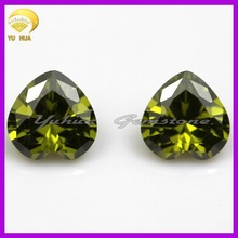 Wholesale heart shape dark olive cubic zirconia rough gemstones