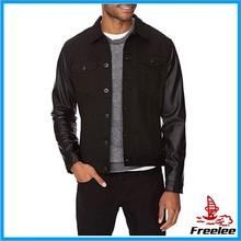 leather sleeves denim jacket for men,leather sleeves denim jacket