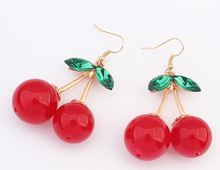 korean style sweet cherry dangle earrings fashionable magazine article earrings community of beauty and fashion