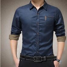 2015 Men's custom long-sleeve shirts popular style high quality men's garments wholesale garments for men