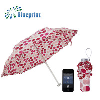 Fashion Girl Dots Ruffles Design Short Tiny Portable 5 Folding Umbrella