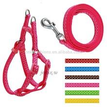 Adjustable Polka Dots Print Nylon webbing Small Dog Puppy Pet Harness & Walking Leash(kzm00005)