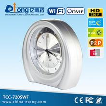 New design!!! p2p, AP function, motion detection,2-way audio 720P HD monitor clock(TCC-720SWF)