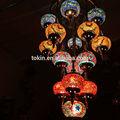 2015 desigh nueva artesanía de arte del mosaico turco lámparas colgantes hechos en china de araña 19 bolas set up( cc19m01)