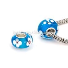 hot sale aliexpress jewelry, fashionable white flower blue glass murano beads fit bracelet