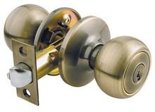 America antique brass finish tubular entry kwikset key entry door knob lock