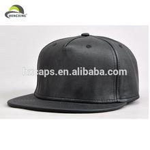 Custom Leather Patch Logo Snapback Hats Wholesale /Black Leather Snapback Hats Custom