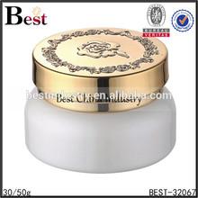 white bottle 30g factory glass cream jar, gold cap 30g factory glass cream jar