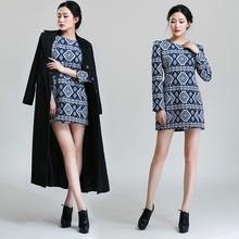 Vintage Style 2014 New Products Fashion Flax Slim Plus Size Woman Clothing Bodycon Elegant Design Long Sleeve Winter Dress 5167