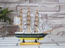 20CM Carving Wooden Nautical SailBoat Decoration