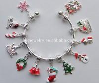 Mix Style Christmas Xmas Gift Charms Alloy Enamel Rhinestone Pendant Charms DIY Jewelry Bracelet Dangle Bead